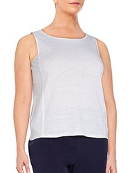 Eileen Fisher Plus Size Organic Linen Boatneck Tank White