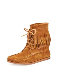 Saint Laurent Fringed Suede High Top Moccasin Bootie Tan
