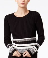 Bar Iii Striped Sweater Only At Macy's Black Combo