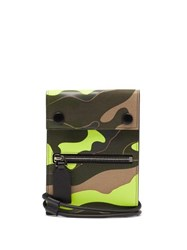 Valentino Neon Camouflage Leather And Canvas Neck Wallet Green Multi