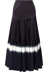 Tory Burch Tiered Printed Cotton Voile Maxi Skirt Midnight Blue