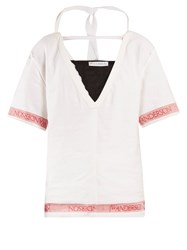 J.W.Anderson Deep V Neck Linen Top White