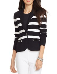 Lauren Ralph Lauren Striped Cotton Sweater Blazer Black White