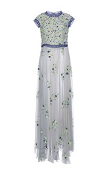 Luisa Beccaria Chiffon Embroidered With Raffia Maxi Dress Multi