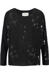 Current Elliott The Boxy Paneled Printed Cotton Jersey Top Black