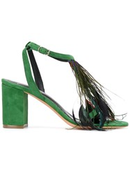 Jean Michel Cazabat Feather Detail Open Toe Sandals Green