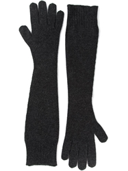 Dolce And Gabbana Long Woollen Gloves Grey