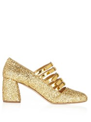 Miu Miu Multi Strap Glitter Mid High Pumps Gold