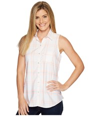 Columbia Super Harborside Woven Sleeveless Shirt Tiki Pink Windowpane Plaid Cirrus Grey Women's Sleeveless White