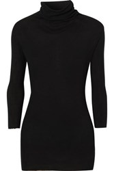 James Perse Ribbed Cotton And Cashmere Blend Turtleneck Top Black