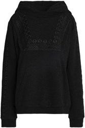 Needle And Thread Embellished Embroidered Cotton Blend Hooded Sweatshirt Anthracite