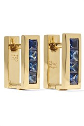 Ileana Makri Mini Square 18 Karat Gold Sapphire Earrings One Size