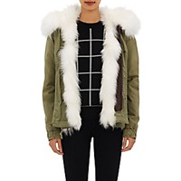 Mr And Mrs Italy Women's Canvas Fur Trimmed Mini Parka White Green No Color White Green No Color