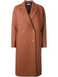 Paul By Paul Smith Double Breasted Woven Coat Brown