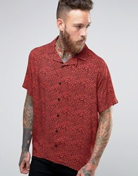 Asos Leopard Print Shirt With Embroidery And Revere Collar In Regular Fit Red