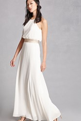 Forever 21 Crochet Trimmed Maxi Dress Cream