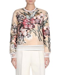 Fendi Floral Fil Coupe Long Sleeve Top Beige
