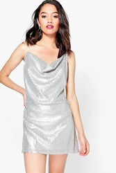 Boohoo Petite Bianca Sequin Cowl Front Strappy Slip Dress Silver
