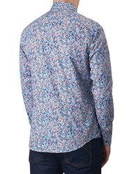 Pretty Green Wilby Slim Fit Rainbow Print Shirt Mid Blue