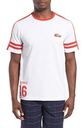 Lacoste Men's 'Sprinter Victory' Print T Shirt White Cochineal