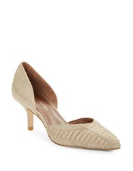 Donald J Pliner D Orsay Woven Suede Point Toe Pumps Beige