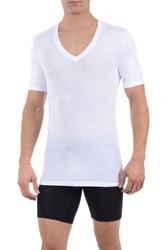 Men's Tommy John 'Second Skin' Deep V Neck Undershirt White
