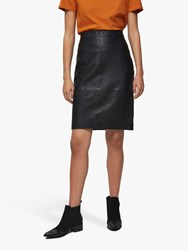Selected Femme Leather Skirt Black