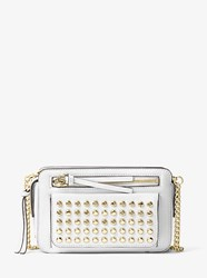 Michael Michael Kors Mitchell Studded Leather Crossbody White