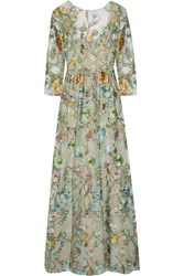 Marchesa Notte Embroidered Tulle Gown Mint
