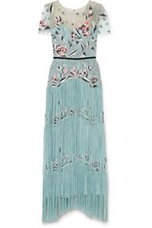Marchesa Notte Fringed Sequined Embroidered Tulle Gown Turquoise