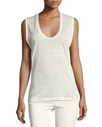 Isabel Marant Linen U Neck Tank Top White