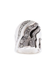 John Hardy Lahar Diamond Saddle Ring Silver