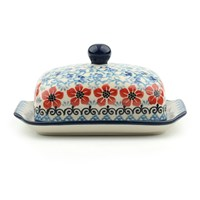 Bunzlau Castle Butter Dish Red Violets