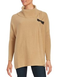 Ply Cashmere Mock Wrap Sweater Camel Brown