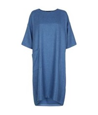 Eskandar Basket Weave T Shirt Dress Blue