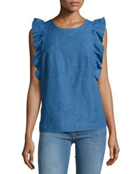 Mih Jeans Caval Butterfly Sleeve Top Blue