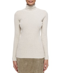 Tory Burch Ribbed Turtleneck Sweater Taupe