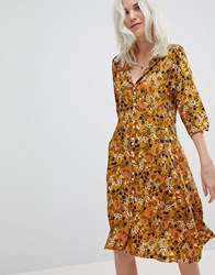Trollied Dolly Floral Tea Dress Yellow