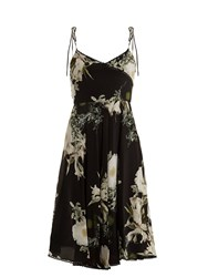 Athena Procopiou In The Still Of The Night Floral Print Silk Dress Black Print