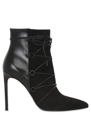 Saint Laurent 105Mm Paris Suede And Leather Ankle Boots