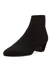 Eileen Fisher Purl Stretch Knit Fabric Booties Black