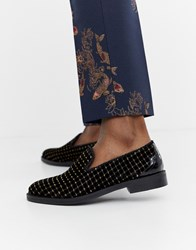 House Of Hounds Styx Loafers In Black And Gold Velvet