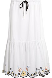 See By Chloe Scalloped Embroidered Cotton Poplin Midi Skirt White