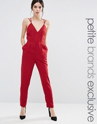 True Decadence Petite Strappy Plunge Front Jumpsuit Red