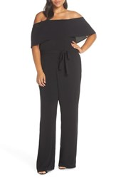 Charles Henry Off The Shoulder Popover Jumpsuit Black