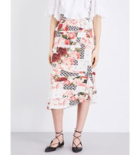 Vilshenko Radinka Tiered Patchwork Silk Crepe De Chine Midi Skirt Cream