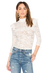 Smythe Lace Ruffle Top White