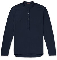 Barena Nalin Cotton Jersey Henley T Shirt Navy
