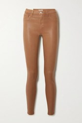 L'agence Marguerite Coated High Rise Skinny Jeans Tan