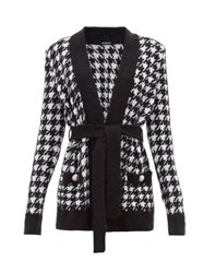 Balmain Belted Long Line Houndstooth Cardigan Black White